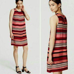 Loft Pink, Red, Black Bold Striped Swing Dress